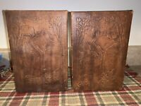 Vintage Hand Carved Leather Covered Bookends Trees RARE!