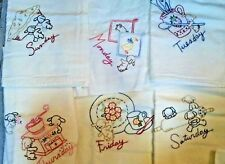 Lot of 6 Vintage Sack Cloth Embroidered Tea Towels Dogs & Puppies