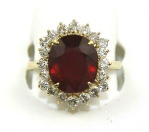 Natural Oval Red Ruby & Diamond Halo Solitaire Ring 14k Yellow Gold 10.30Ct