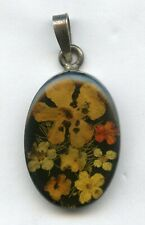 Mexico Flowers Lucite Pendant Charm Vintage 925 Sterling Silver - AH769