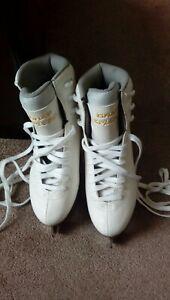 GRAF Bolero Gold WHITE Ice Skates Size 41 Exc Condition BOXED