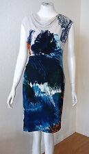 BCBG MAXAZRIA TRINA BLUE DEEP COMBO COWL NECK JERSEY DRESS XS NWT $168-RackA/67