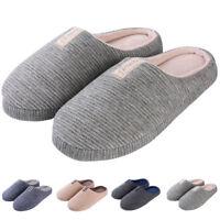 Unisex Cozy Cotton Anti-Slip Memory Foam Slipon House Slippers Flat Indoor Shoes