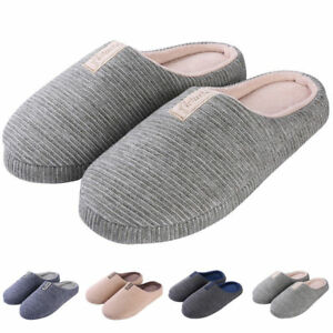 Unisex Cozy Cotton Anti-Slip Memory Foam Slipon House Slippers Flat Indoor Shoes