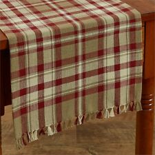 COUNTRY CUMBERLAND TABLE RUNNER 13X54 IN BURGUNDY IVORY TAUPE  PLAID COTTON