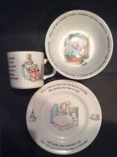 "1991 ""Peter Rabbit"" Wedgwood (3) Piece Porcelain Nursery Set ~ by Beatrix Potter"