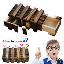 New Compartment Wooden Puzzle Box +Secret Drawer Brain Teaser Educational Toys