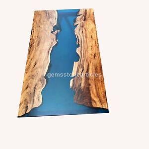BLUE EPOXY River Coffee Table, live edge wooden table handmade custom home deco