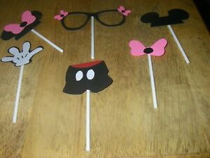 12 PC Mickey Minnie Cupcake Toppers Party Favors, Birthday Party, Baby Shower