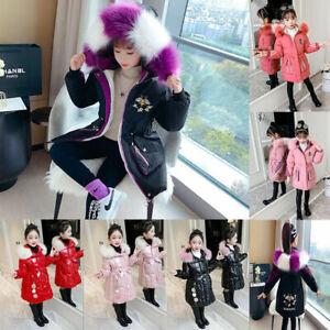 UK Girls Thick Coat Kids Hooded Padded Thick Parka Long Fur Warm Jacket Winter