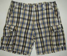Mens 38 Polo Jeans Company Ralph Lauren Blue Yellow White Plaid Cargo Shorts
