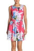 CeCe By Cynthia Steffe Jordyn Fit Flare Dress Women's Pink Floral NWT $138 B1