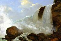 Oil painting Christopher Pearse Cranch - Niagara, American Falls great Hand pain