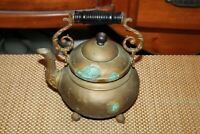 Antique Victorian Copper Brass Metal Teapot Tea Kettle Footed Scroll Handle