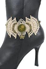 Women Boot Bracelet Antique Gold Chain Anklet Shoe Charm Lace Steam Punk Clock
