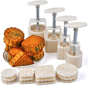 Mid-Autumn Festival Hand-Pressure Moon Cake Mould With 12 Pcs Mode Pattern For 4