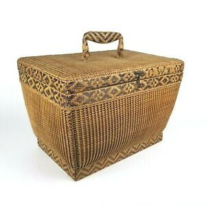 Asian Wicker Basket Woven Handle Sewing Picnic Suitcase Storage Vintage 16in