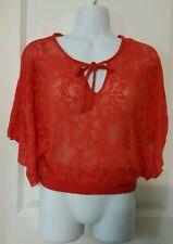 Express Women'Orange Sheer Floral Print Tunic Blouse Top Size XS