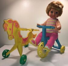 Vintage 1967 Mattel Tippee Toes Doll w/ Riding Horse and Tricycle Made in USA
