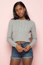 brandy melville heather gray cropped patterned Olsen sweater NWT sz S