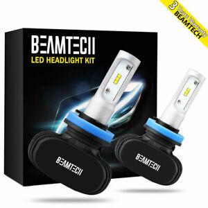 BEAMTECH Fanless LED Headlight Bulbs H11 H9 H8 Car Low High Fog Light CSP Kit