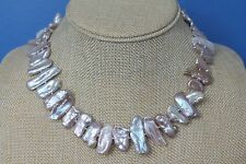 Extra Large White Biwa Freshwater Pearl Sticks Necklace
