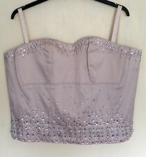 NATURALLY CLOSE DUSKY PINK RHINESTONE BONED BUSTIER CORSET BASQUE PLUS SIZE 26