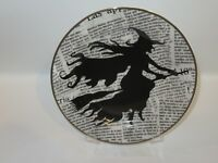 Ciroa Halloween WICKED Witch on Broom Salad Sandwich Plate - NEW