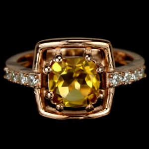 NATURAL AAA ORANGISH YELLOW CITRINE & WHITE CZ STERLING 925 SILVER RING 5.75