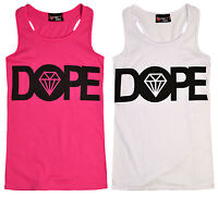 Girls Dope Vest Top Kids Slogan Pink Sleeveless Cotton T Shirt New Age 7 8 Years