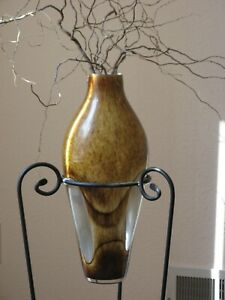 """Decorative Glass Browns / Clear 21"""" tall Vase w/ Black Iron Floor Stand"""