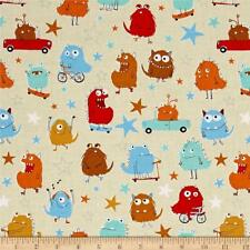 Fabric Monsters Adventure on Cream Cotton by the 1/4 yard BIN