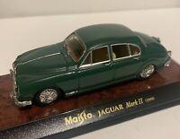 Miniature Maisto Jaguar Mark II vert anglais 1959 1/43 Neuf en boite New W Box