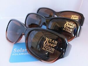 3 Solar Shield  Polarized Sunglasses Fits Over Glasses Size Med. Retail $19.99