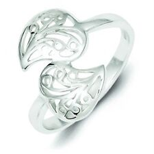 .925 Sterling Silver Polished Filigree Leaves Bypass Style Band Ring Size 7