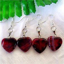 2Pairs Nice Red&Black Dragon Veins Agate Peach Heart Pendant Earrings AE1195