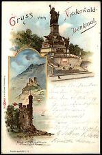 Gruß vom NIEDERWALD-DENKMAL Rüdesheim am Rhein - Farblitho gel. 1899