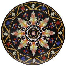 "18""x18"" Black Designer Marble Top Coffee Table Lapis Lazuli Inlay Mosaic Work"