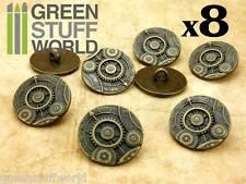 8x Botones Ruedas y Engranajes - color Bronce - Ropa SteamPunk y Abalorios