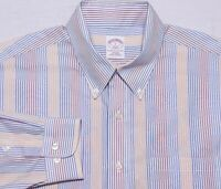 Brooks Brothers NON IRON Long Sleeve Button Shirt Blue Yellow Red Stripe Large L