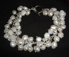 Real White Pearl Beads 18KWGP Link Clasp Bangle Bracelet