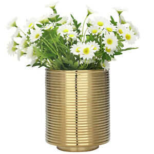 10.5-inch Modern Gold Tone Metallic Ribbed Texture Cylinder Ceramic Flower Vase