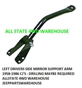 Left Driver Side Mirror Arm For Jeep 1958-1986 CJ5 CJ6 CJ7 CJ8 #5455301 Black