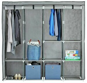 Argos Home Triple Modular Metal Framed Fabric Wardrobe - Jute