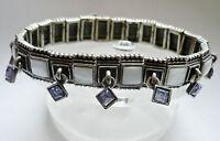 Design Armband hochwert Perlmutt elastisch Metall Schmuck weiß silber lila NEU