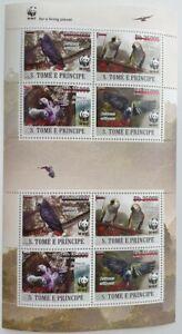 Sao Tome 2020 WWF Overprint: Grey parrot (red foil) 8v (608a1)