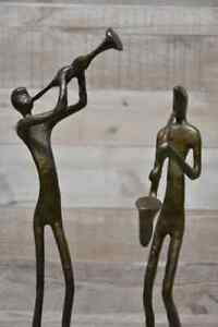 Bronze/Brass Coloured Metal Stylised Musicians Set of Two
