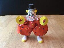 Vintage Paper Mache Clown Holding Drum Cymbals Mexico