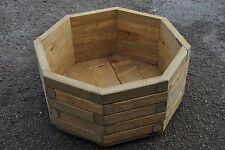 Extra Large Wooden octagonal Pot 57x57x30cm of Solid Wood Pine in Oak Color