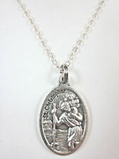 "Ladies St Christopher / St Anthony Medal Necklace 20"" Chain Gift Box Prayer Card"